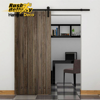 5/6/6.6/7.5/8/8.2FT Heavy Duty Rustic Black Steel Sliding barn Wood door hardware country style sliding barn door track kit