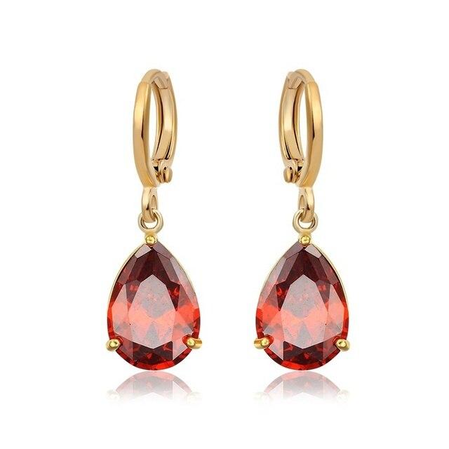 18k Yellow Gold Plated Teardrop Garnet Red Ruby Crystal Drop Dangle Earrings Grace Party Jewelry Bijoux