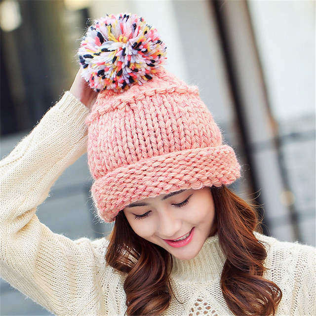 cf331befe84 5 Colors Kawaii Women Beanies Autumn And Winter Female Hats Hot Selling The  Knitting Ball Cap Hat Casual Hats For Women