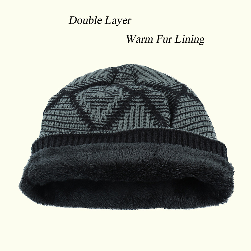 f2bee1776fa81f Casual Warm Winter Knitted Beanies Hats Cap For Women Men Prism Pattern  Double Layer Thermal Fur Lining Black Caps Type JY06-in Skullies & Beanies  from ...