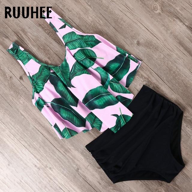 RUUHEE Bikini 2019 Swimsuit Swimwear Women High Waist Tankini Bikini Set Push Up Bathing Suit Women Beachwear Plus Size Swimwear 4