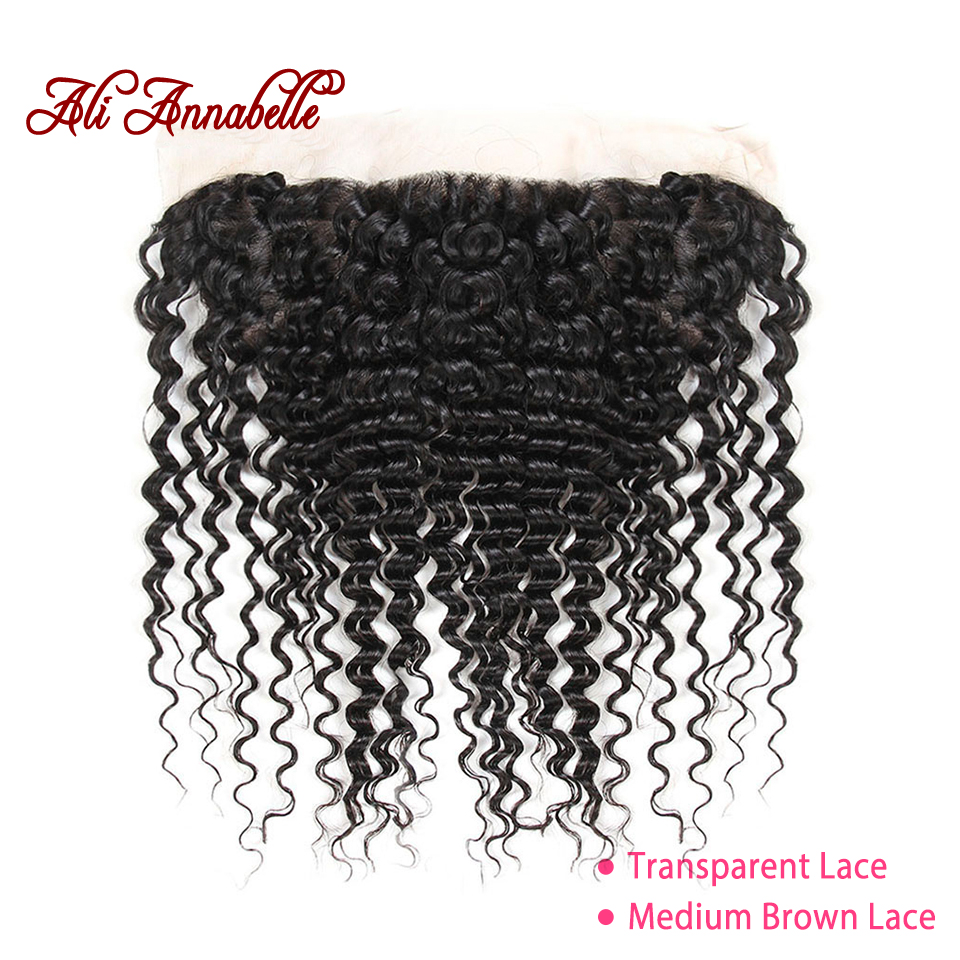 ALI ANNABELLE HAIR Pre Preplucked Lace Frontal Brazilian Deep Wave Transparent Lace Frontal 13 4 Swiss
