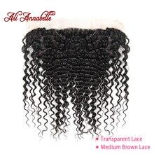 ALI ANNABELLE HAIR Pre Preplucked koronkowa przednia brazylijska głęboka fala przezroczysta koronkowa przednia 13*4 szwajcarska koronka ludzkich włosów
