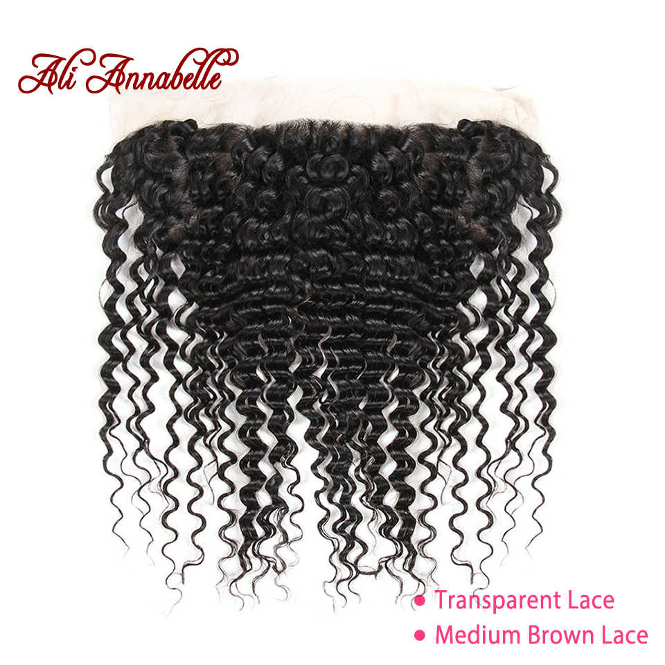 ALI ANNABELLE HAIR Pre Preplucked Lace Frontal Brazilian Deep Wave Transparent Lace Frontal 13*4 Swiss Lace Human Hair