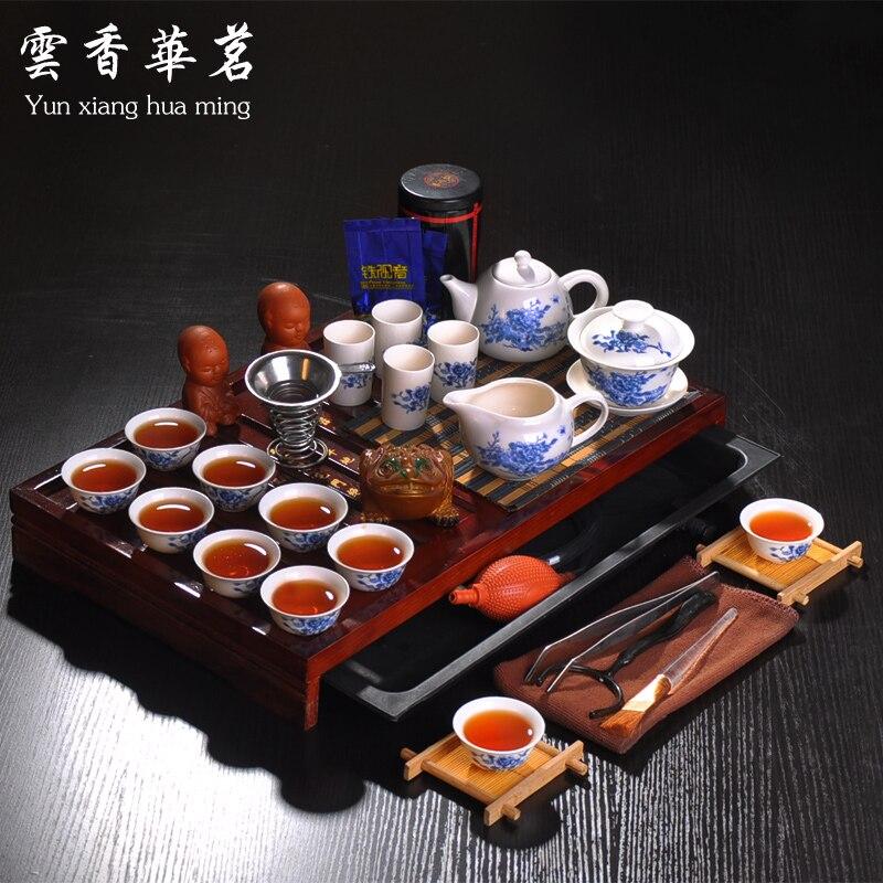Кунг-фу чайный сервиз весь чайник набор синий и белый фарфор керамический чайник из массива дерева чайный поднос чайная церемония