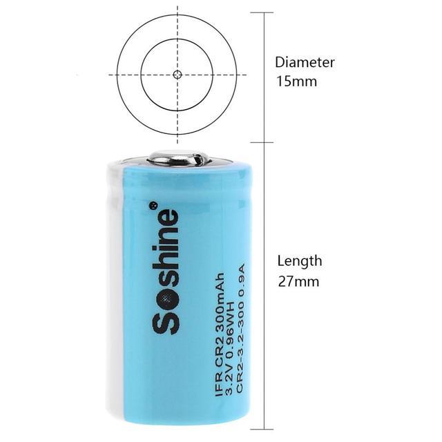 4 pièces/ensemble Soshine Ifr CR2 3.2V 300mAh LiFePO4 batterie Rechargeable + boîte de batterie pour lampe de poche/lampe frontale/caméra de haute qualité