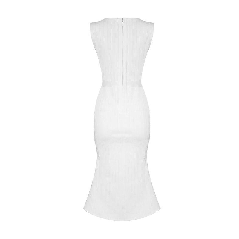 Femmes En Bandage Sexy Embelli Longueur Ruches Blanc Genou Mode Profond Élégant 2018 Celebrity Robe Nouvelle Gros V Col Ya6qAA