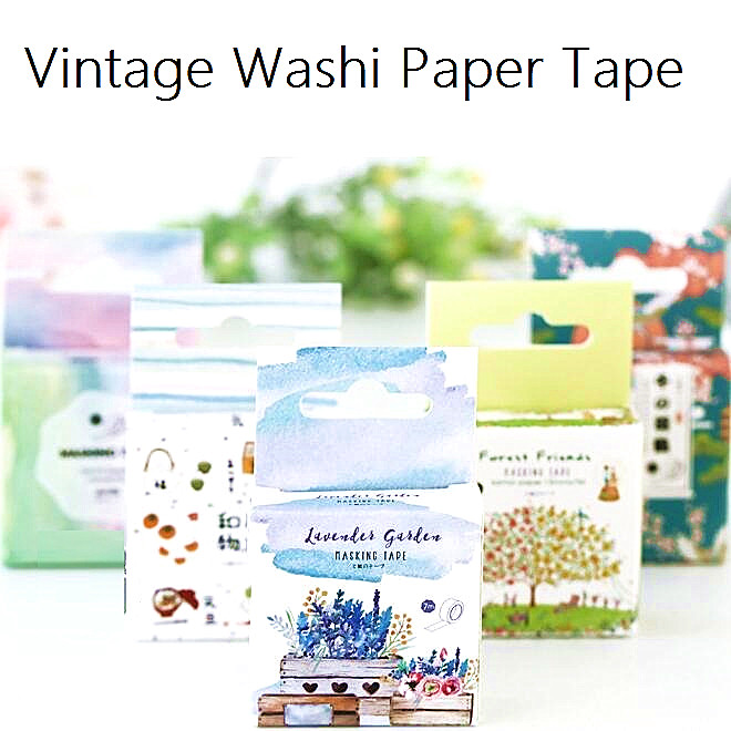 Wholesale study stationery 7M. Zakka Japan retro Life series DIY Paper Adhesive tape with paper box.good nice.kids DIY work too