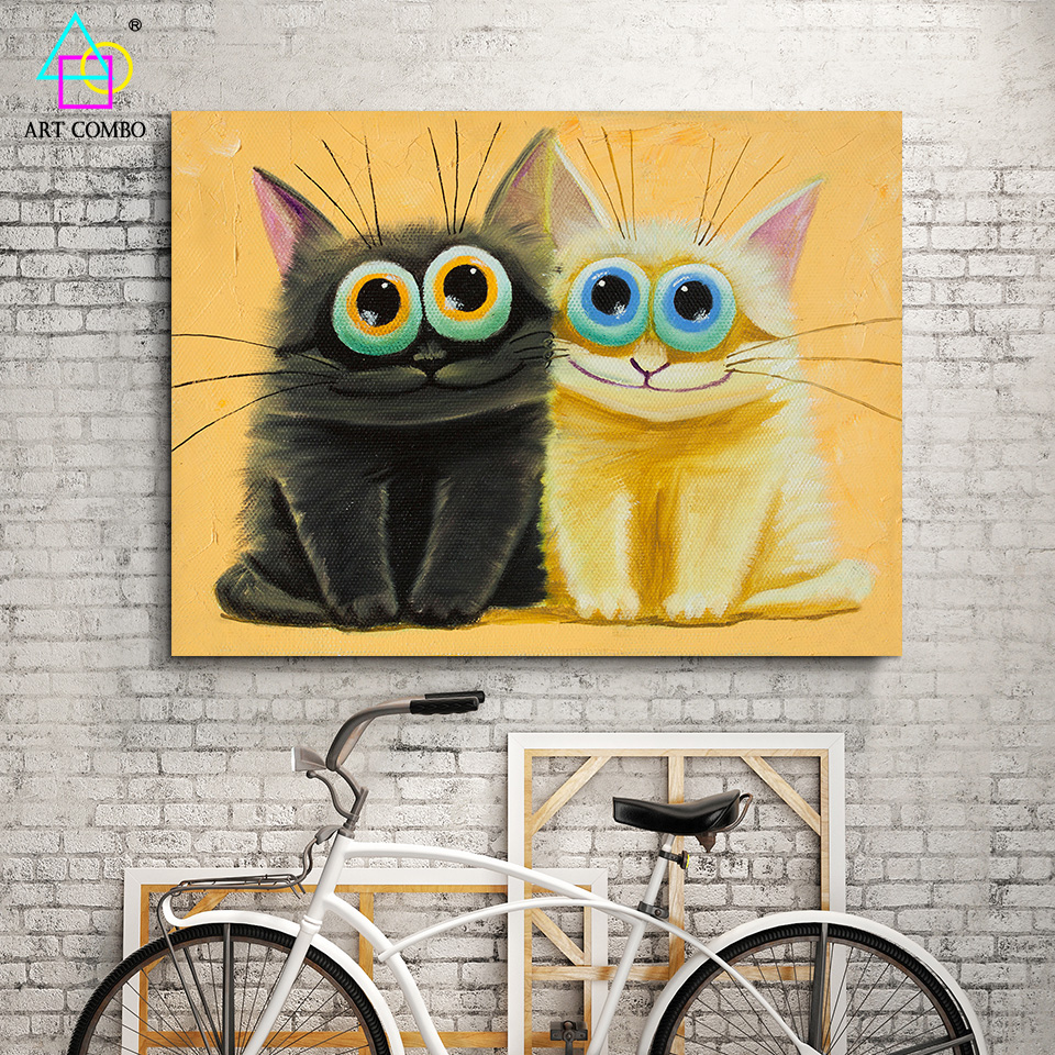 Modern Wall Art Cat Paintings Canvas Cheap Funny Cat With Big Eye ...