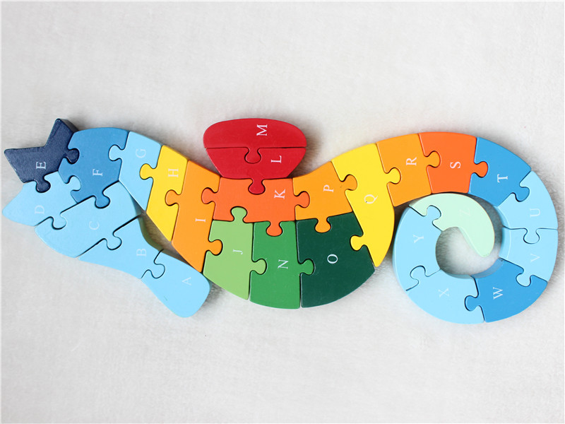 Cartoon wooden animal puzzle educational font b toys b font digital 26 letter puzzle