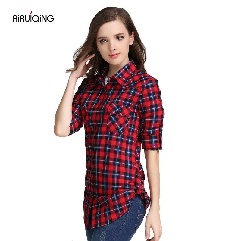 Women s 2017 autumn and winter female shirt plaid shirt female 100 slim long sleeve cotton