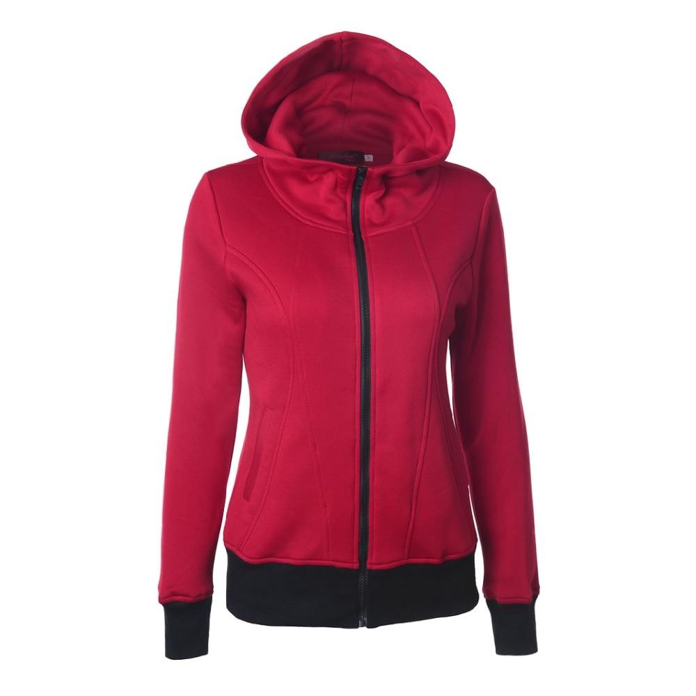 Autumn Winter Women's Hoodies shot high collar hooded plastic zipper long sleeve pocket stitching Sweatshirts