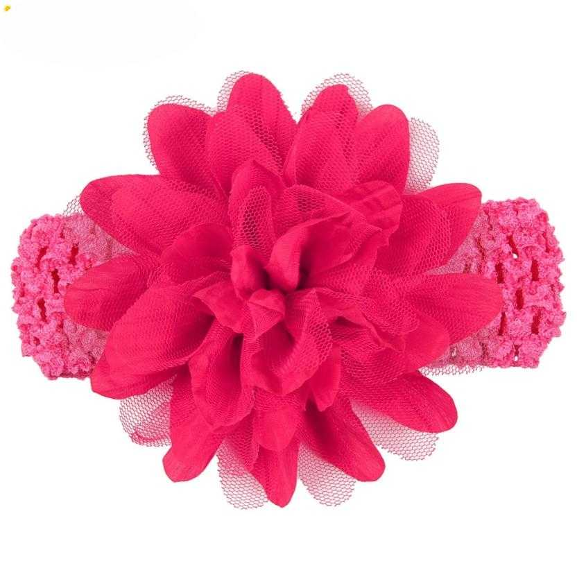 Headbands Newly Design Little Girls Big Flower Elastic Lace Hair Accessories 160405 Drop Shipping