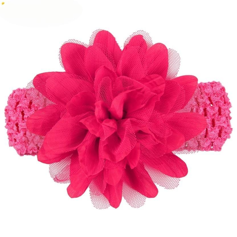 Headbands Newly Design Little Girls Big Flower Elastic Lace Hair Accessories 160405 Drop Shipping