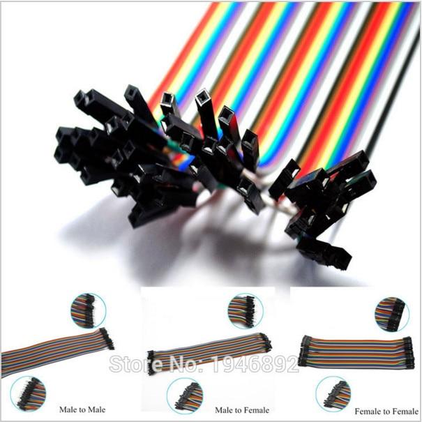 40PCS Dupont Wire Color Jumper Cable 1P-1P 2.54mm Female to Female 21cm