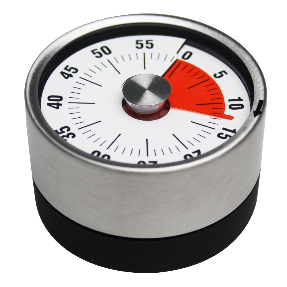 BaldrStainless Steel Mechanical Kitchen Timer Magnet Round Shape 60 Minutes Novelty Countdown Cooking Clock Alarm Time Reminder