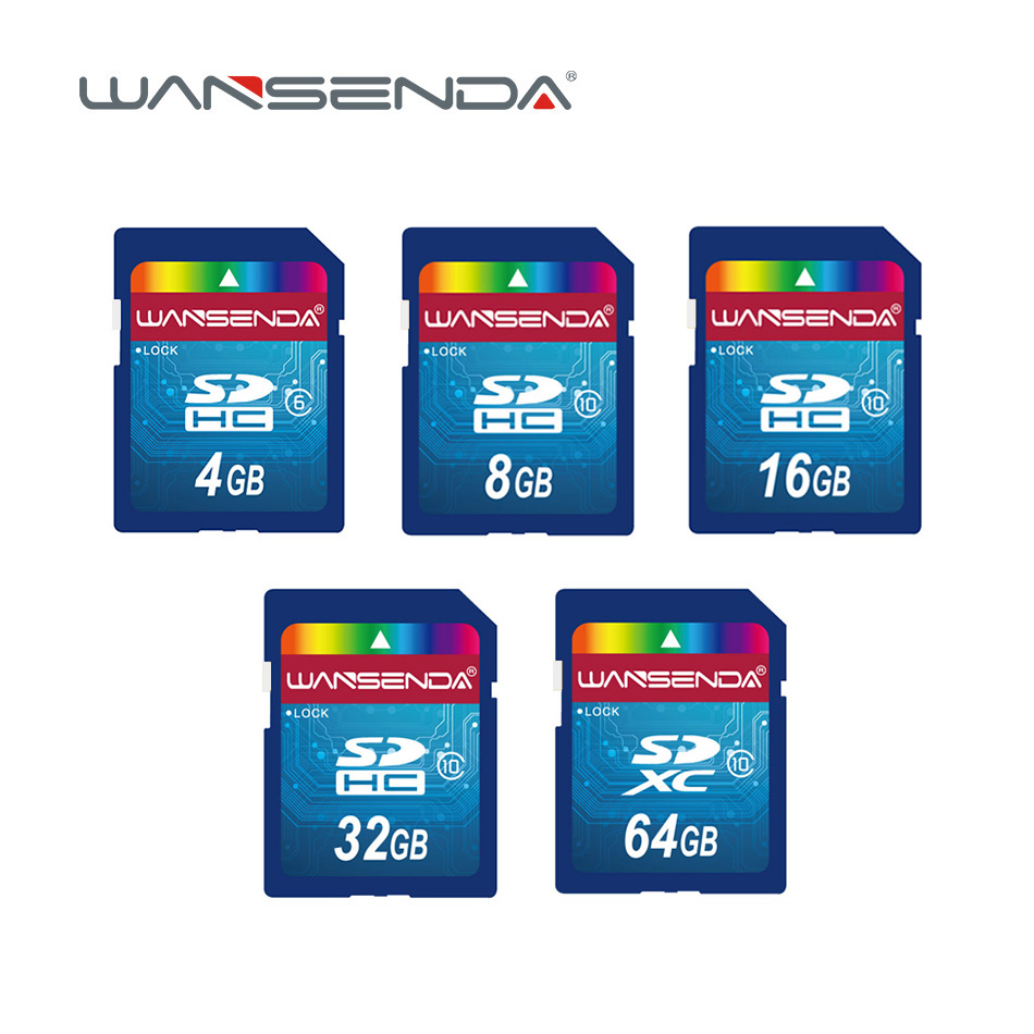 Original Wansenda Full Size Sd Card 4GB 8GB 16GB 32GB 64GB Real Capacity Memory Card For Camera With Retail Package