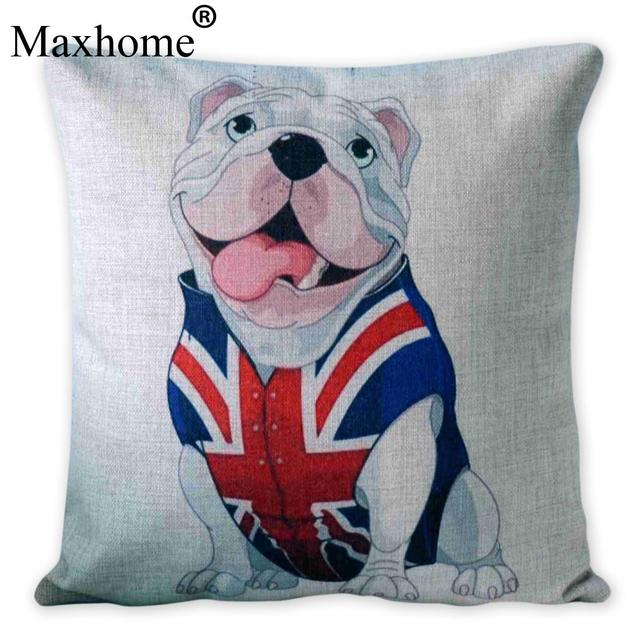 French Bulldog Gift Cotton Linen Pillowcase British Flag Cushion Gorgeous French Pillows Home Decor