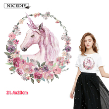 Nicediy Iron On Transfers Patches For Clothes Vinyl Heat Transfer Patch Unicorn Flower Applique Thermal T-shirt Washable Decor