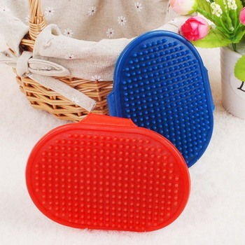 Blue red Silicon pet dog shampoo Brush cat Massage comb rubber dogs Hair accessories Bath Brush dogs cats fur Glove Hair Comb