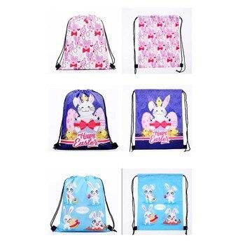 Novelty Toy 6 Pcs Easter Rabbit Bunch Pocket Rabbit Printed Bundle Bag Shopping Storage Backpack Funny Easter Toy New