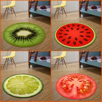 3D Fruit Round Small Rug Dywan Dia 60CM Alfombras Dormitorio Circular Living Room Chair Pad Rugs