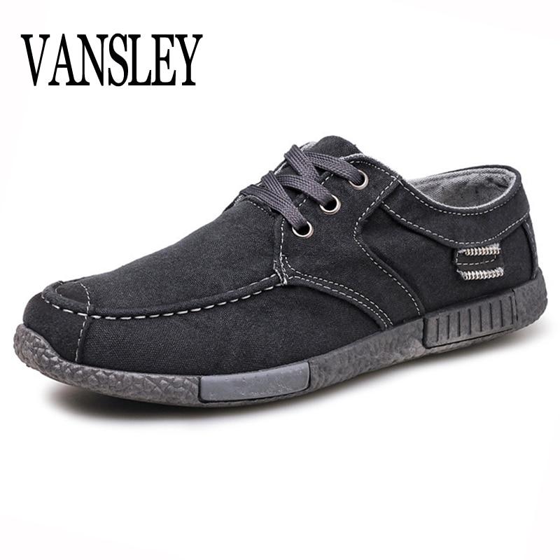 Mens Designer Canvas Shoes Denim Lace-up Men Casual Shoes New 2018 Plimsolls Breathable Flat Male Footwear Spring Autumn Homme