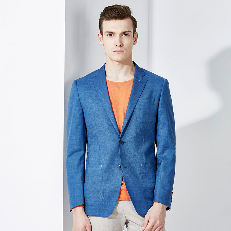 blazer men blue single breasted slim fit man clothes 2018 casual business man wedding groom party wear full sleeve suits jacket
