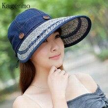 Kagenmo 2017 Nuevo estilo paja delgada Sol sombrero BRIM mujeres verano al  aire libre sombrero Sol pantalla señora grande ala pl. b3ee6bb8aea8