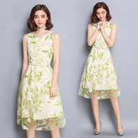 plus big size women clothing dress 2016 summer korean vestidos new print sleeveless dress organza A word dress female A1085