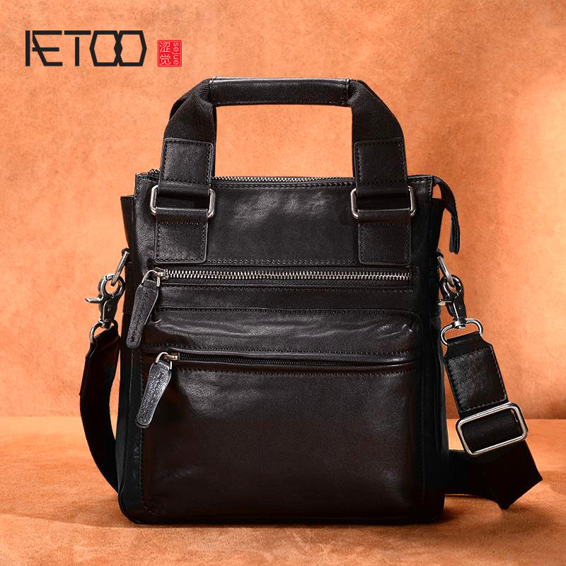 AETOO Handbag men s casual multi function large capacity shoulder bag Messenger bag first layer cowhide