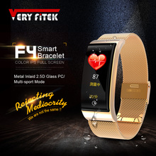 VERYFiTEK F4 โลหะสมาร์ทสายรัดข้อมือความดันโลหิต Heart Rate Monitor ผู้ชายผู้หญิงฟิตเนสนาฬิกา Pedometer สร้อยข้อมือสมาร์ท