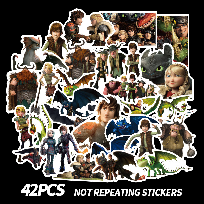 42pcs Cartoon Stiackers How To Train Your Dragon Series For Notebook PC Skateboard Car Motorcycle DIY Waterproof Toy Sticker F2