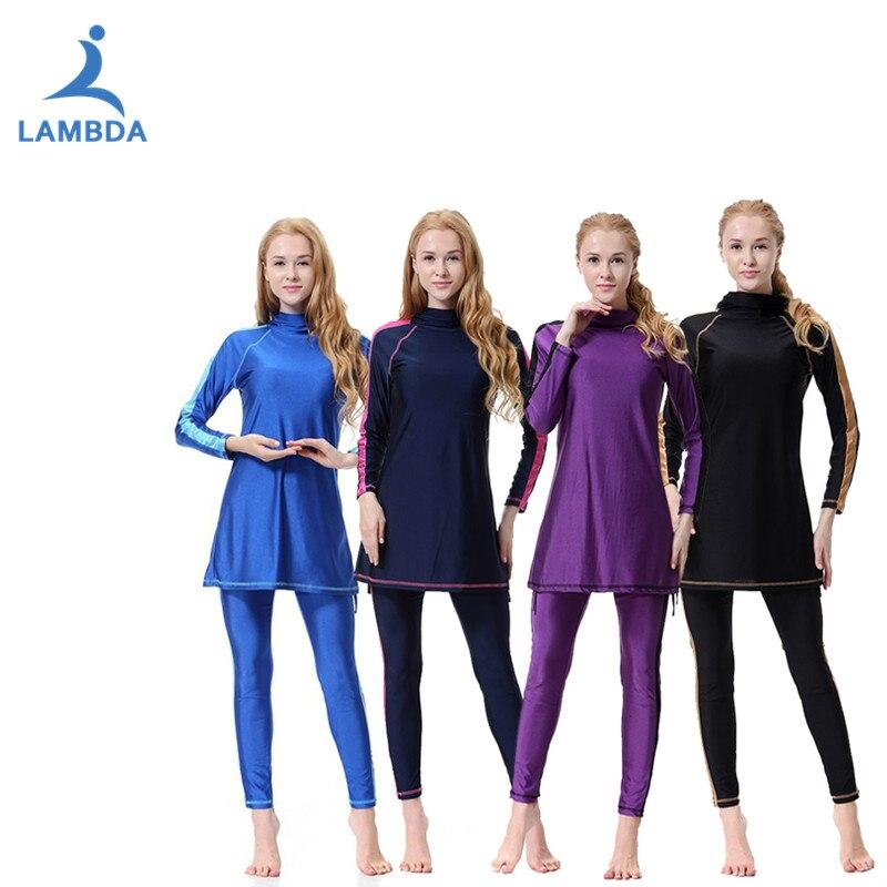 45ecd68179 LAMBDA 2019 Women Plus Size Printed Floral Muslim Swimwear Hijab Muslimah  Islamic Swimsuit Swim Surf Wear Water Sport S-3XL