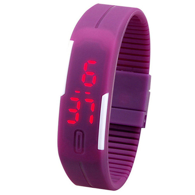 Charming Unisex Silicone Red LED Touch Digital Bracelet Wrist Watch 1