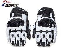 SSPEC neutro motociclismo quebrar-resistente à prova d' água de fibra de carbono luvas de couro curto Branco & Preto