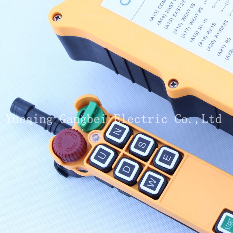 HS-6D Double speed with emergency stop Hoist crane remote control wireless radio Uting remote control 380V 220V 36VAC  12V-24VDC 2 speed control hoist crane 6 pushbuttons pendant control station with emergency stop