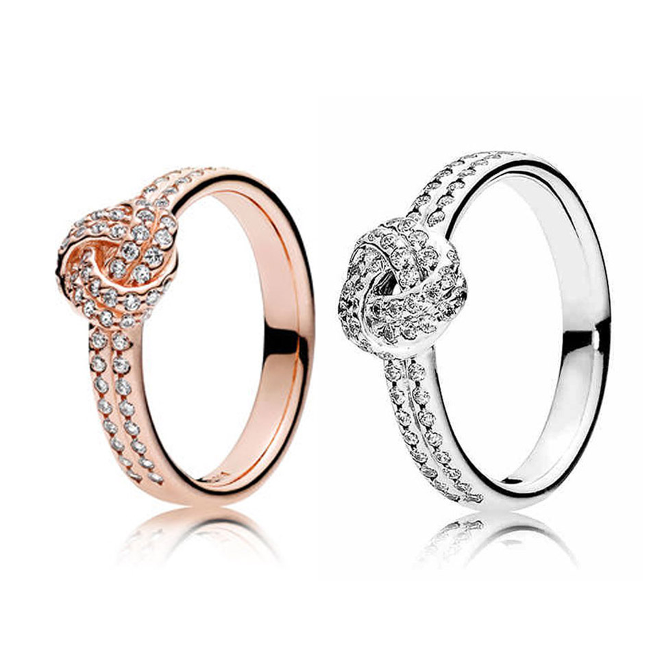 Authentic 925 Sterling Silver Sparkling Love Knot Ring for Women Clear CZ Rose Gold Color For Women Wedding fit Lady Jewelry