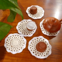 (4pcs/lot) Handmade hook flowers cotton lace / hollow round decorative mat coasters /Two Mixed colors cup pads diameter 8-10CM