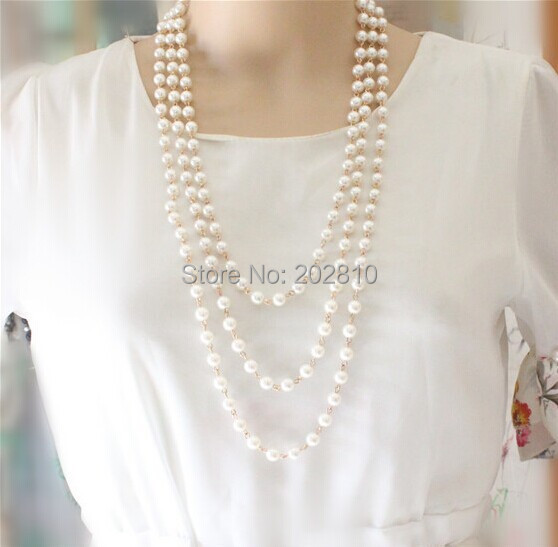 Mada Keturi sezonai dėvėti 3 sluoksnio stulpelio perlų megztinis - Mados papuošalai - Nuotrauka 2