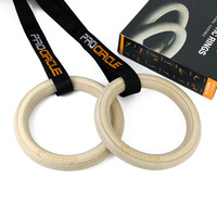 ProCircle 1pair Wooden Portable Olympic Gymnastics Rings Home Fitness Gym Strength Training