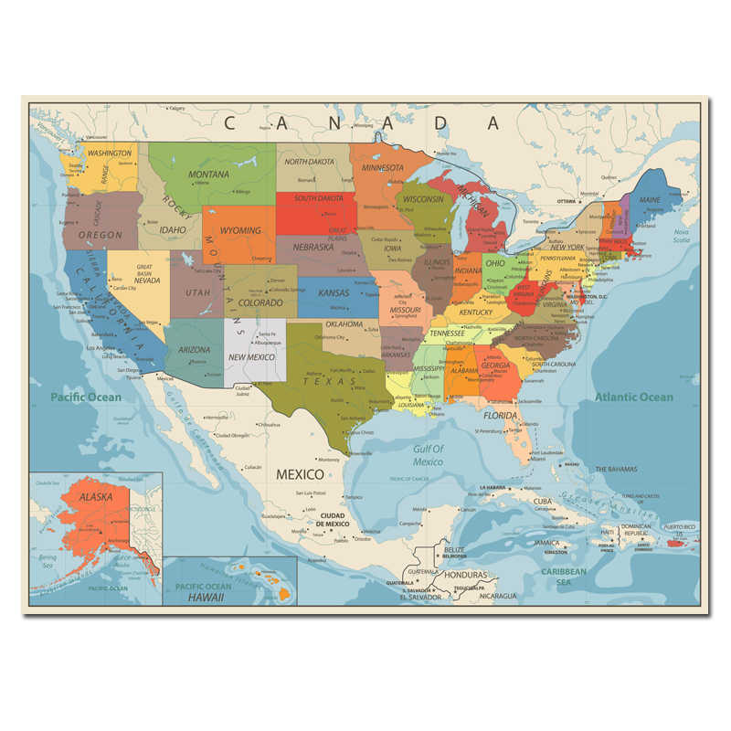 Detail Feedback Questions About Usa United States Map Poster Size