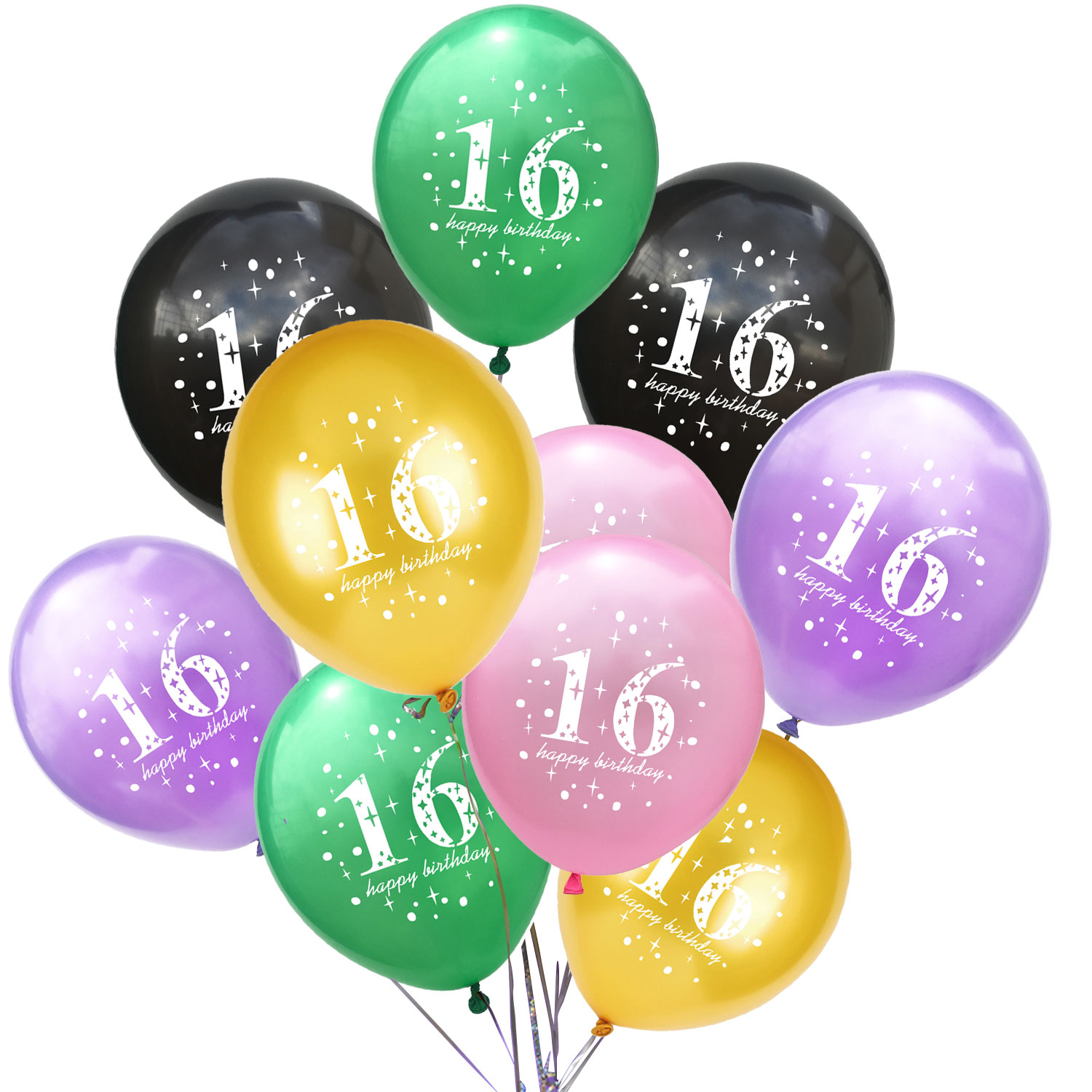 Zljq 10pcs 12inch Chic Sweet Sixteen Birthday Celebration Latex Balloon Party Decoration Supplies Boy And Girl Birthday Party Ballons Accessories Aliexpress