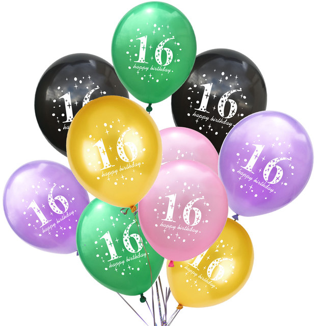 Zljq 10pcs 12inch Chic Sweet Six Birthday Celebration Latex Balloon Party Decoration Supplies Boy And