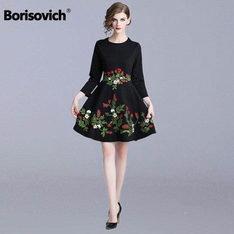 Borisovich femmes noir tenue décontractée nouveau 2018 automne mode luxe Floral broderie élégant a-ligne dames robes de soirée N371