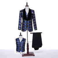 Jackets Pants Vest 2017 Fashion Men Suits Plaid Fabrics Slim Fit Groom Tuxedos Bridegroon Formal