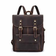 купить Mini Backpack Men 14 Inches Laptop Big Bag Genuine Leather Business Back Pack for Teenager Boys Hand Bag Large Capacity Bagpack дешево