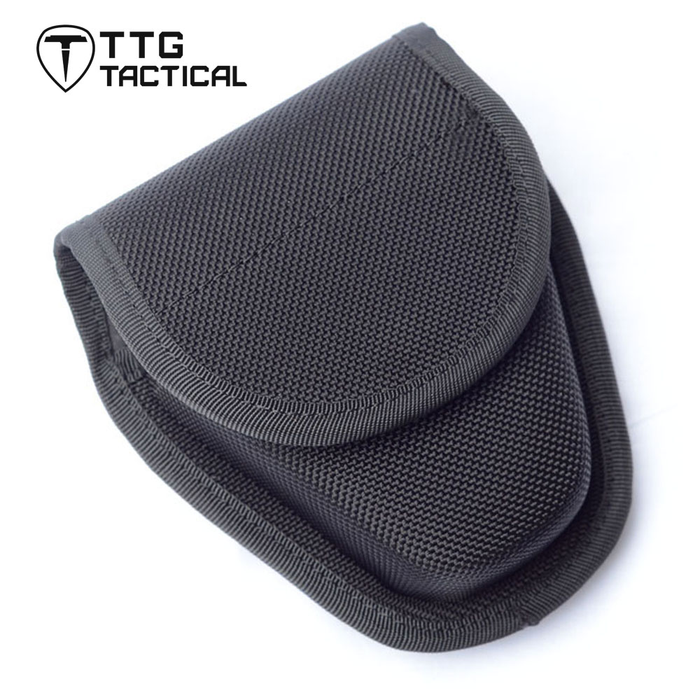 TTGTACTICAL Military Security Enhanced Molded Handcuff Case Belt Mounted Police Single Handcuff Pouch Case Black