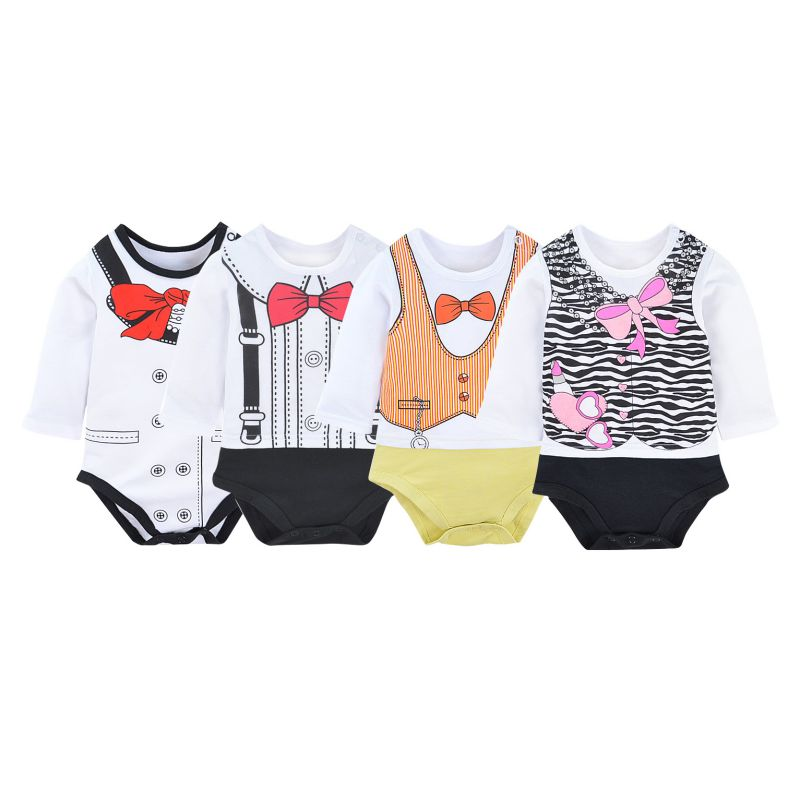 Newborn Infant Cute Cotton Long Sleeve Unisex Boy Girls Bodysuit Baby Clothing Leotard Body Tops