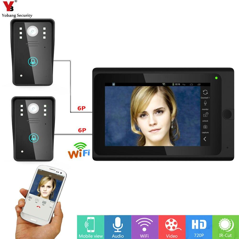 Yobang Security 7inch Wired/Wireless Wifi Video Door Phone Doorbell Intercom withSupport Remote APP unlocking Recording,Snapshot